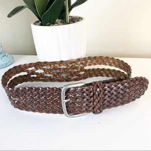 Wide Leather Braided Belt Small